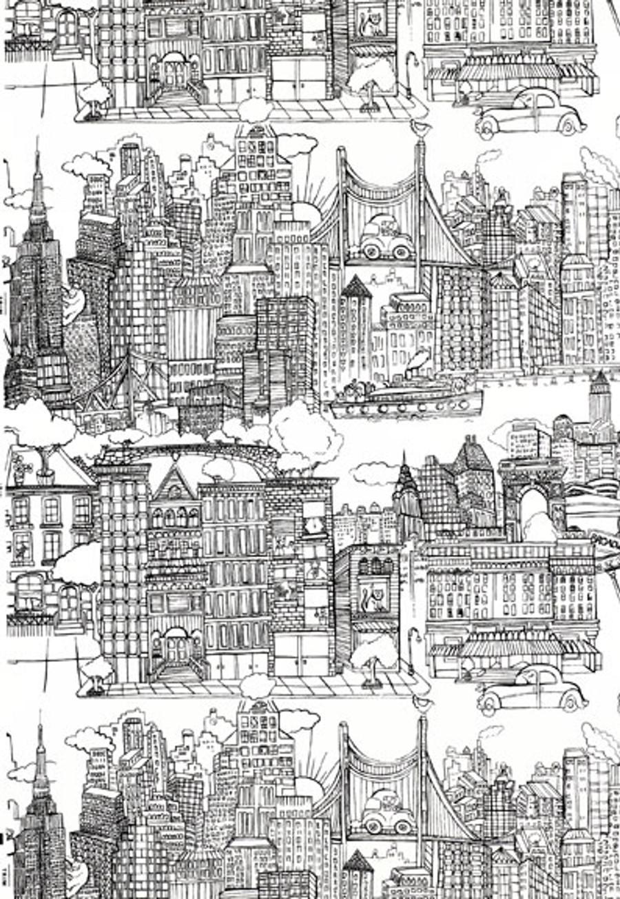 Schumacher New York,  New York Wallpaper Black on White 2705530 - 2 Roll Minimum Order