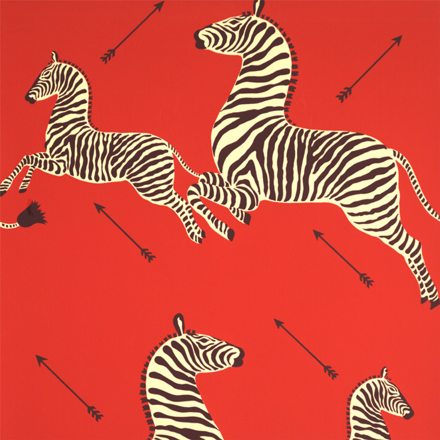 Scalamandre Zebras Wallpaper Masai Red - 2 Roll Minimum Order