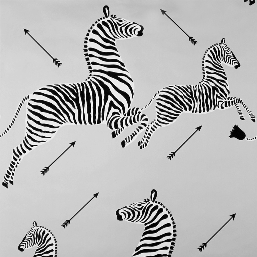 Scalamandre Zebras Wallpaper Silver - 2 Roll Minimum Order