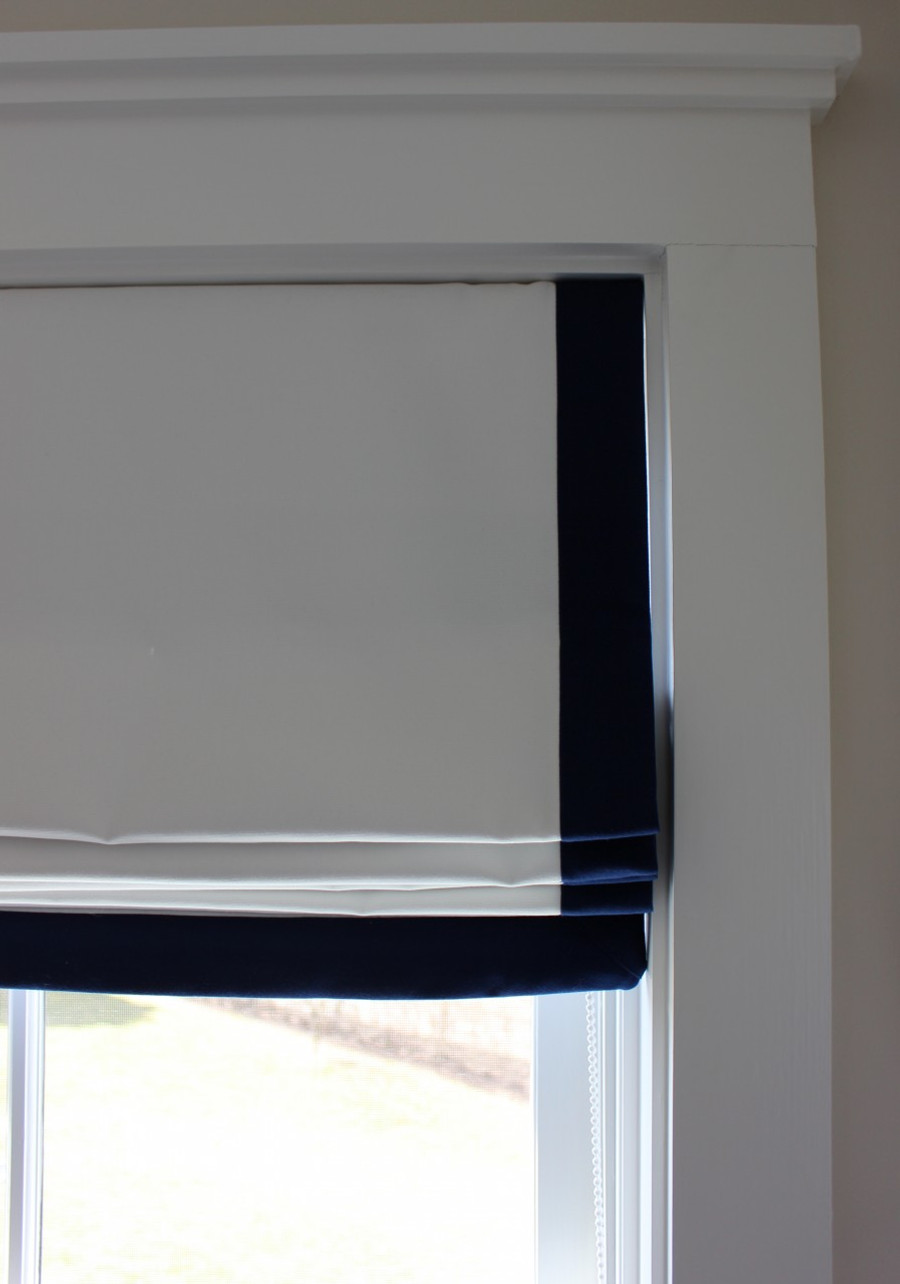 White Roman Shade with 2 inch Indigo Blue Border