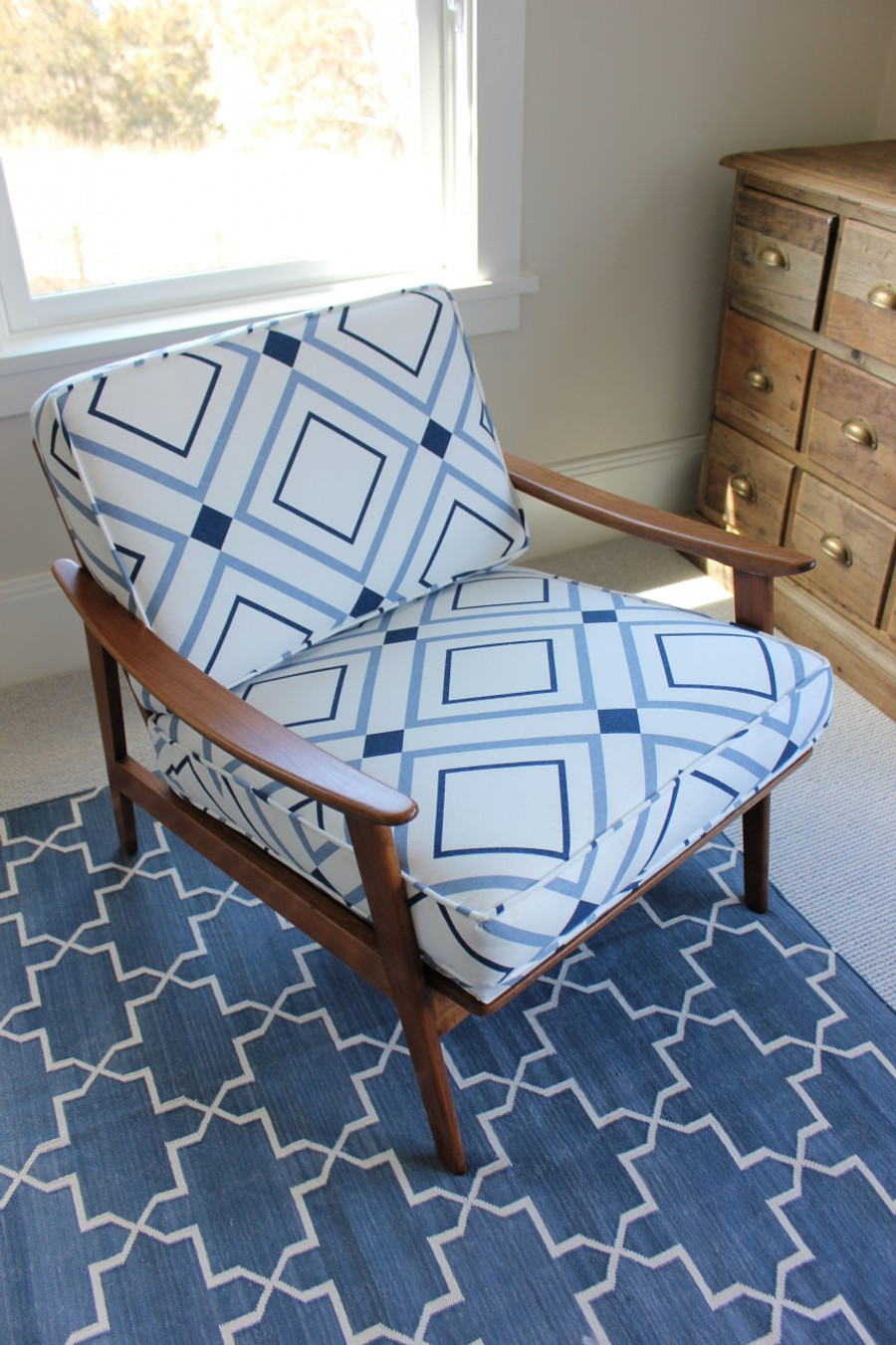 Chair in Victoria Hagan Diamond Lights 4015-02 Denim Indigo