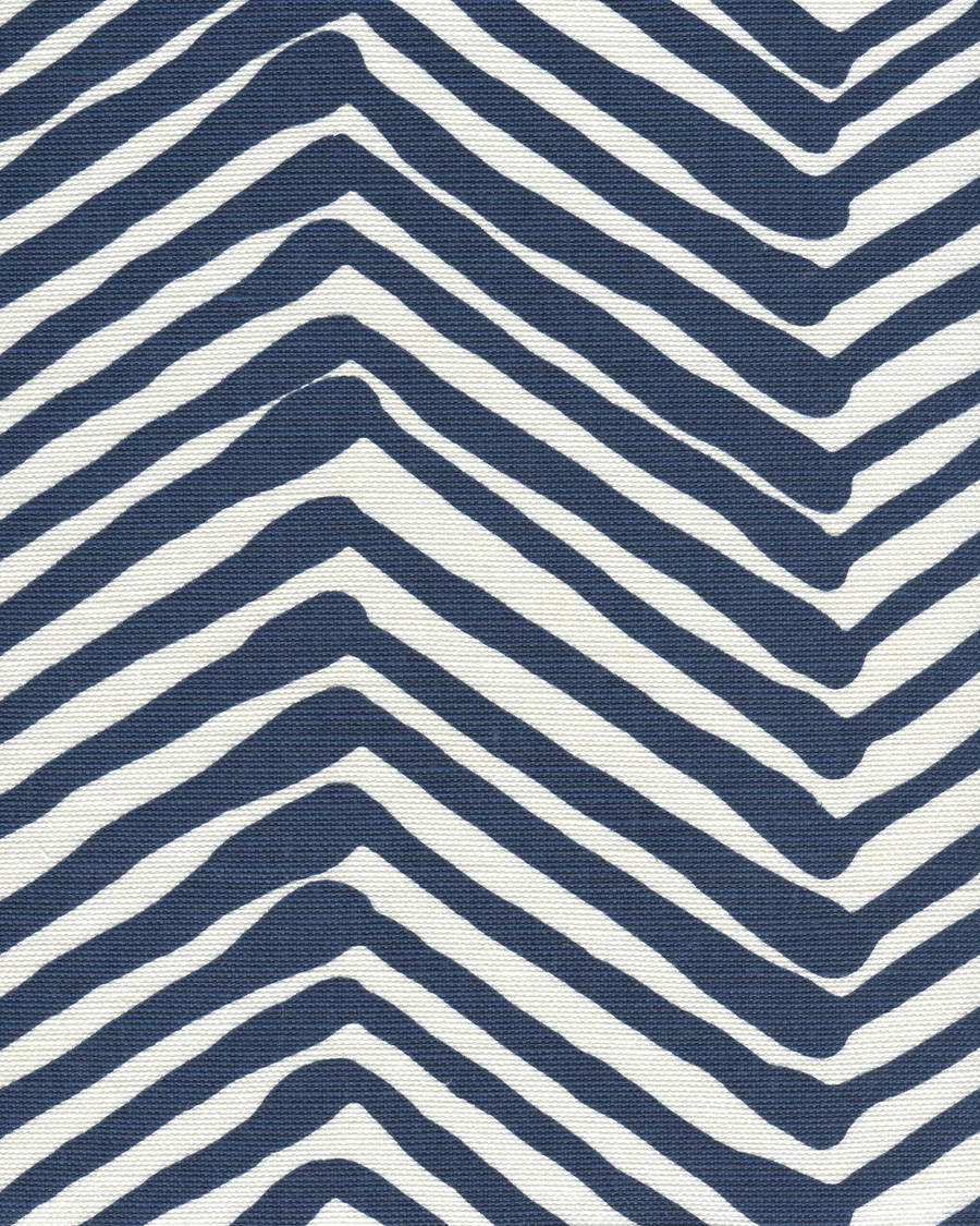 Quadrille Alan Campbell Zig Zag Navy On Tint