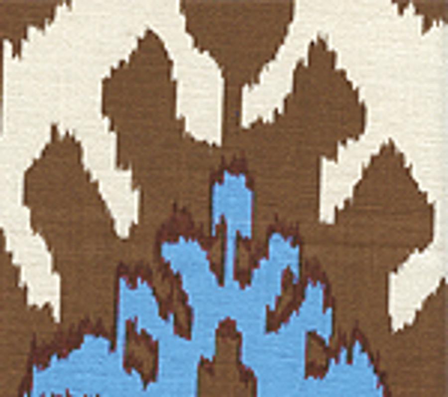 Quadrille Kazak Tobacco French Blue on Suncloth (Indoor/Outdoor fabric)