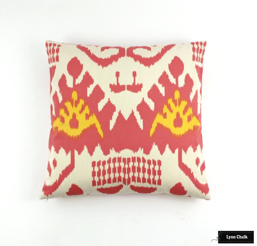 Quadrille Kazak Orange Pink on Suncloth (Indoor/Outdoor fabric)