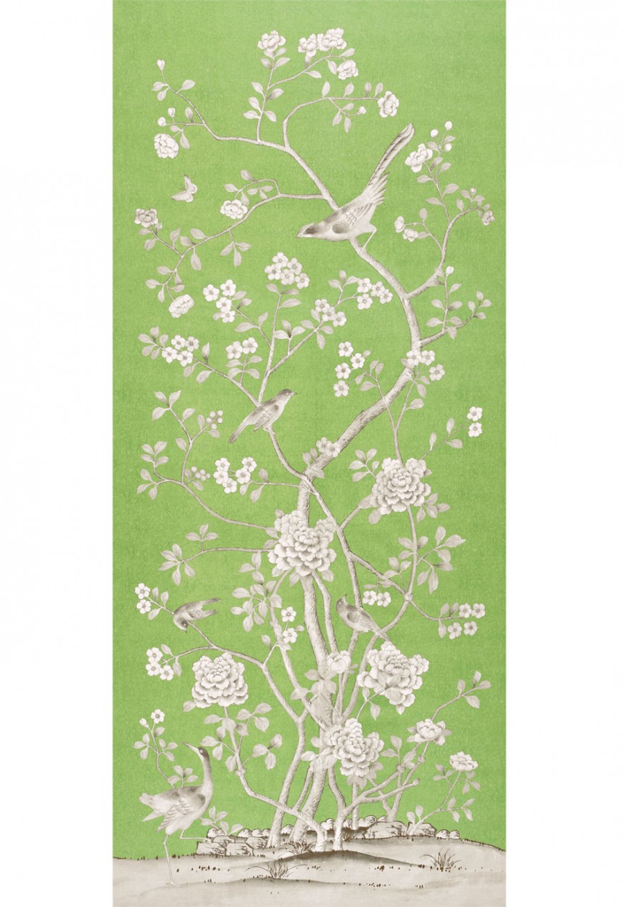 Schumacher Mary McDonald Chinois Palais Drapes in Lettuce with Malmaison Tape Noir/Swan
