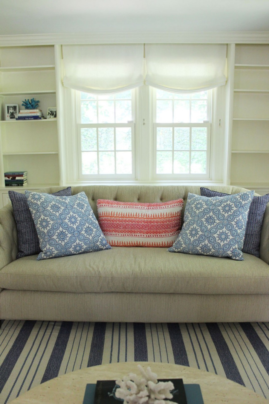 Casual Roman Shades in Kravet Linen - Dublin in Bleach by Lynn Chalk.  Pillows in John Robshaw Algiers in Lotus, Petra in Cobalt and Aleppo in Indigo