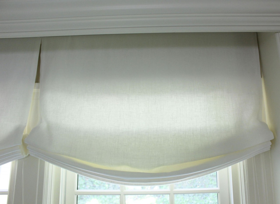 Casual Roman Shades by Lynn Chalk in Kravet Linen - Dublin in Bleach.