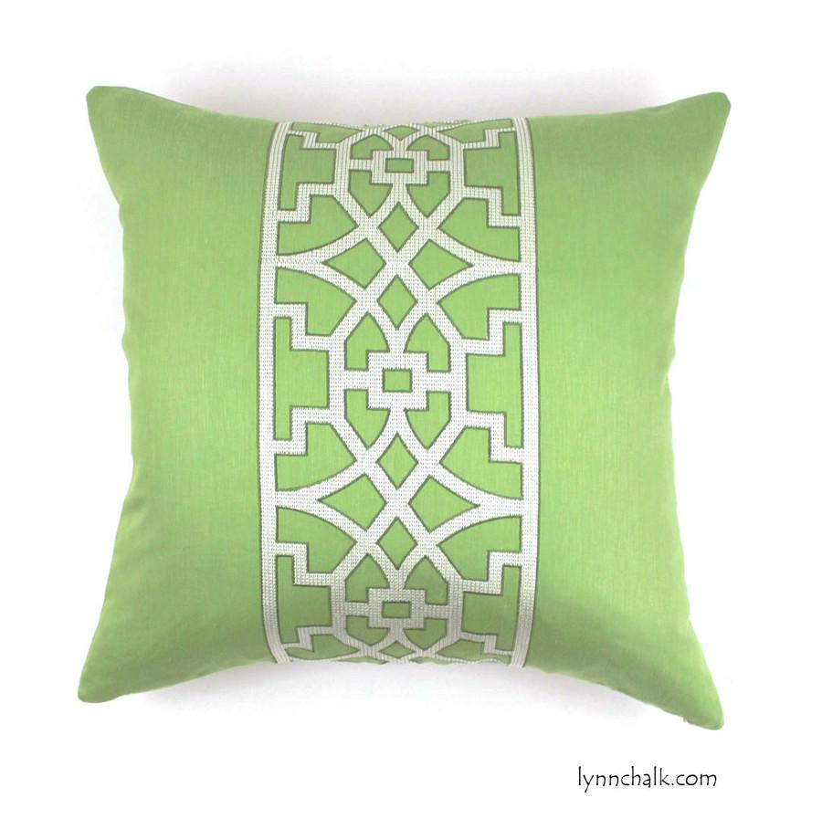 """Custom 24"""" Pillow by Lynn Chalk in Mary McDonald Don't Fret in Lettuce"""