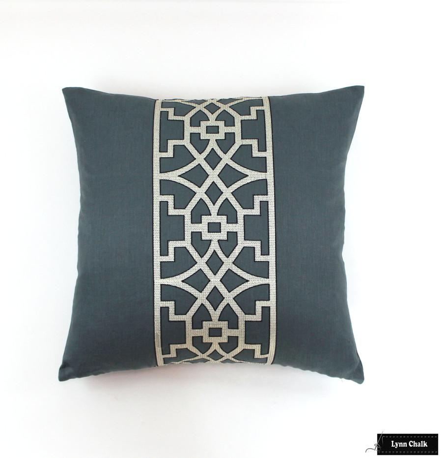"Custom 24"" Pillow by Lynn Chalk in Mary McDonald Don't Fret in Bleu Marine"