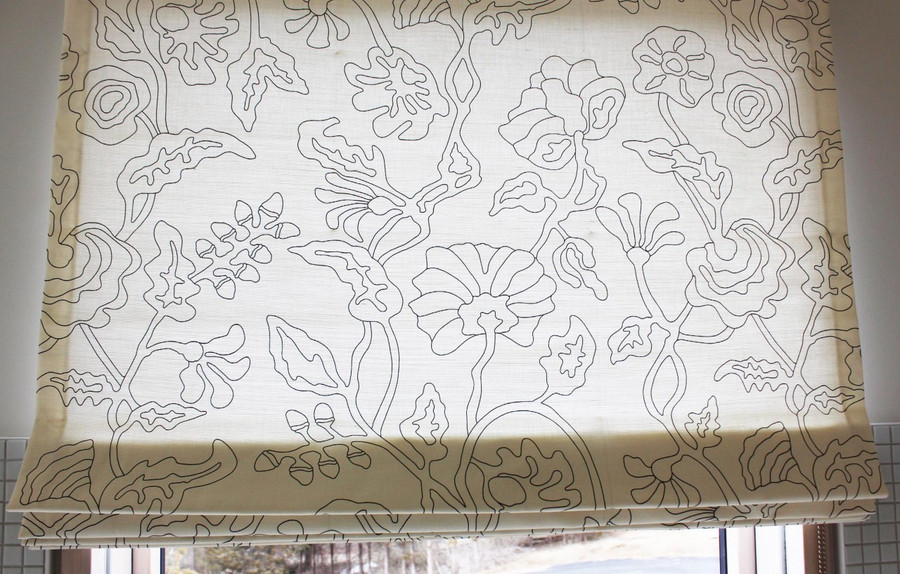 Custom Roman Shade by Lynn Chalk in Quadrille's Alan Campbell Potalla Outline Black on Tint