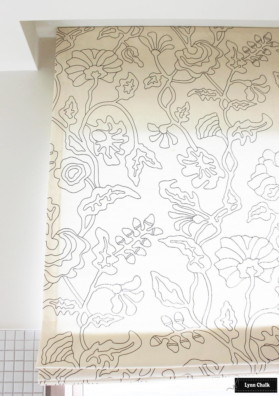 Quadrille Bathroom Roman Shades in Alan Campbell Potalla Outline Black on Tint (Designed by Julie Schaffer -Salles Schaffer Architecture)