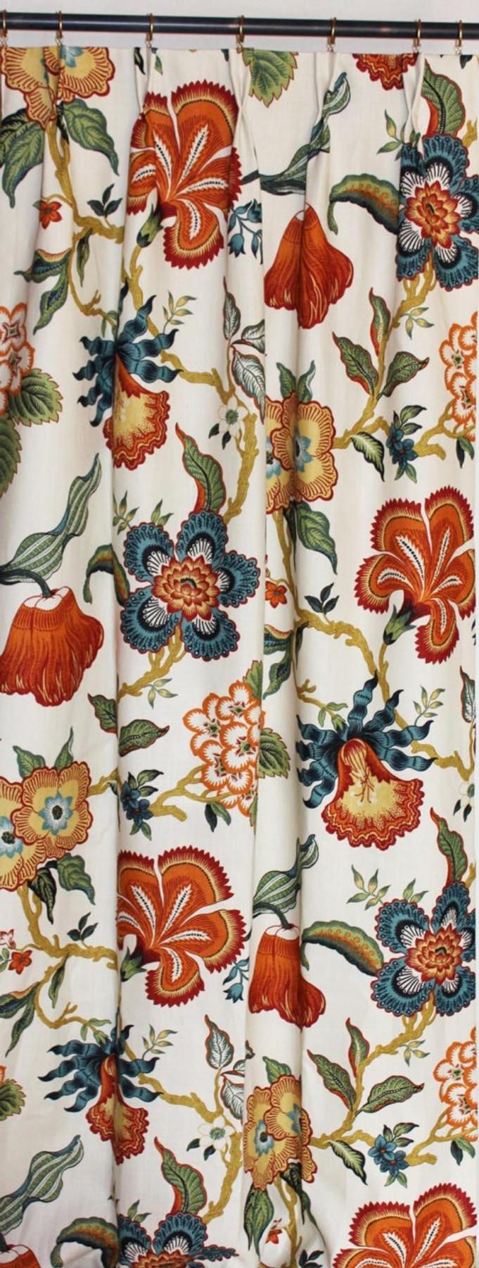 Custom Pleated Drapes by Lynn Chalk in Schumacher Celerie Kemble Hot House Flowers Spark
