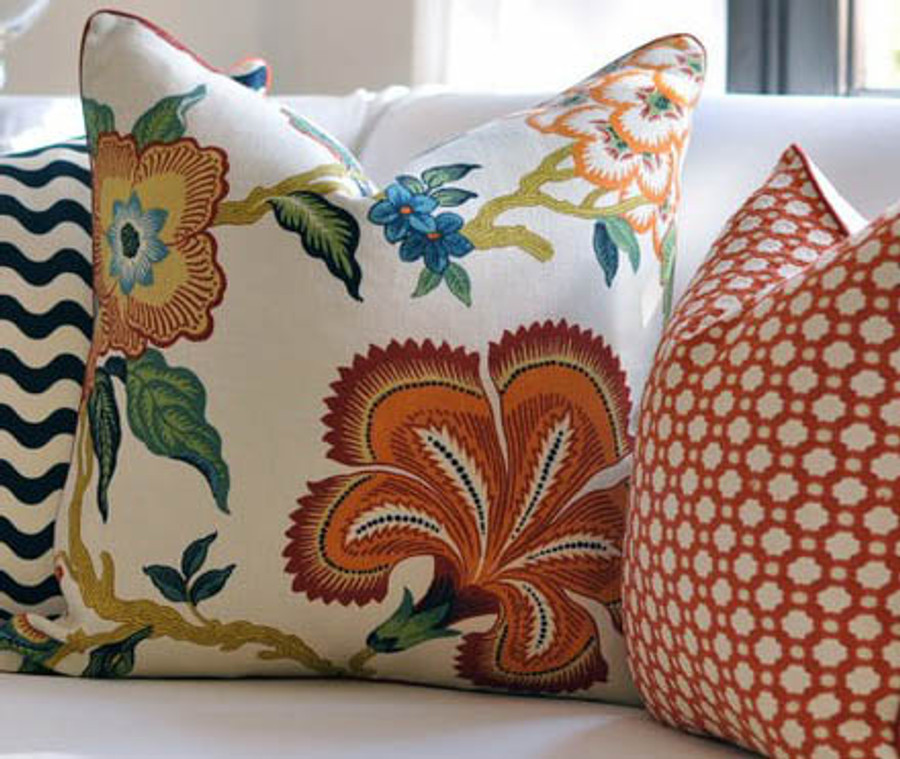Pillows in Schumacher Celerie Kemble Hot House Flowers Spark and Betwixt Spark