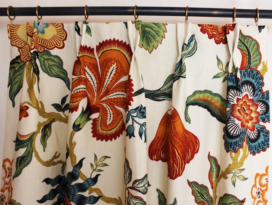 Custom Pleated Drapes by Lynn Chalk in Schumacher Celerie Kemble Hot House Flowers Spark