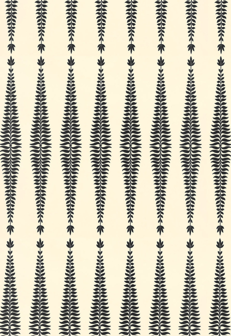 Schumacher Fern Tree Wallpaper in Noir Creme 5005070