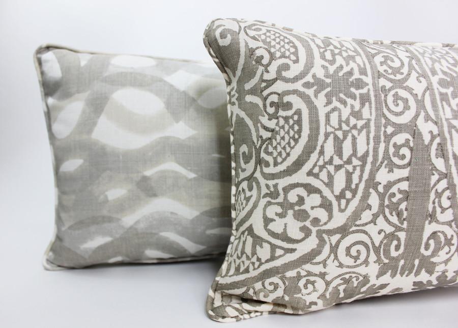 Quadrille Veneto in Gray Pillow with Christopher Farr Fathom.
