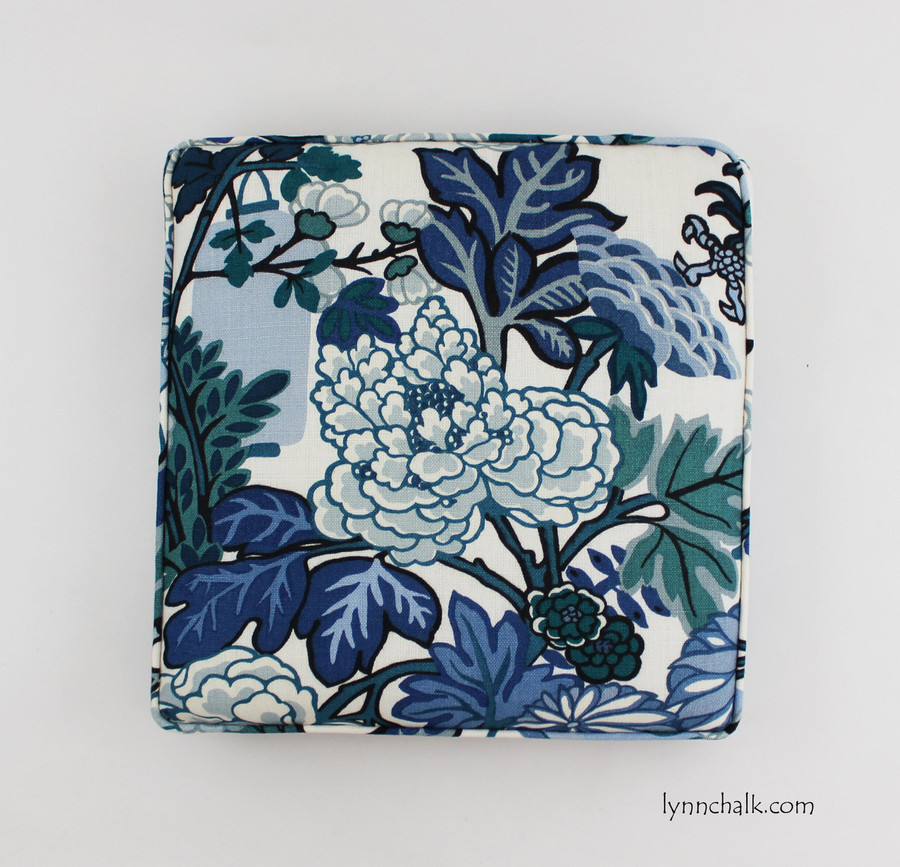 Chiang Mai Dragon - Custom Cushions by Lynn Chalk in China Blue
