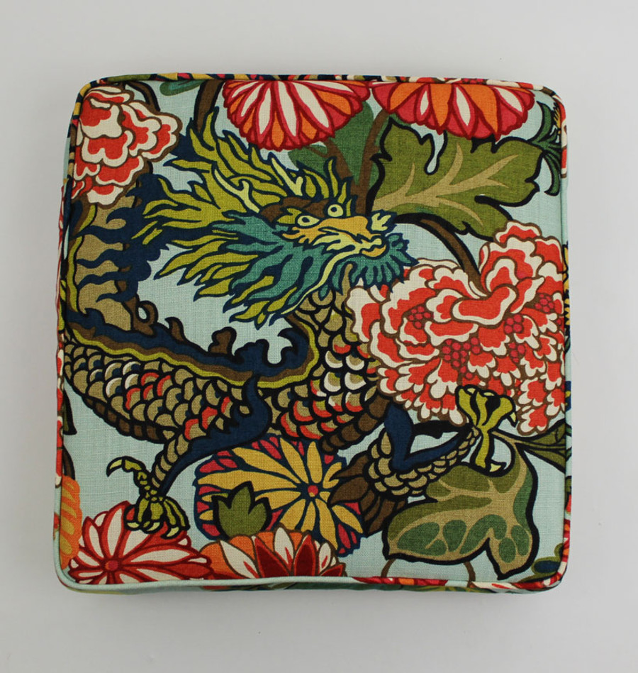 Chiang Mai Dragon - Custom Cushions by Lynn Chalk in Aquamarine