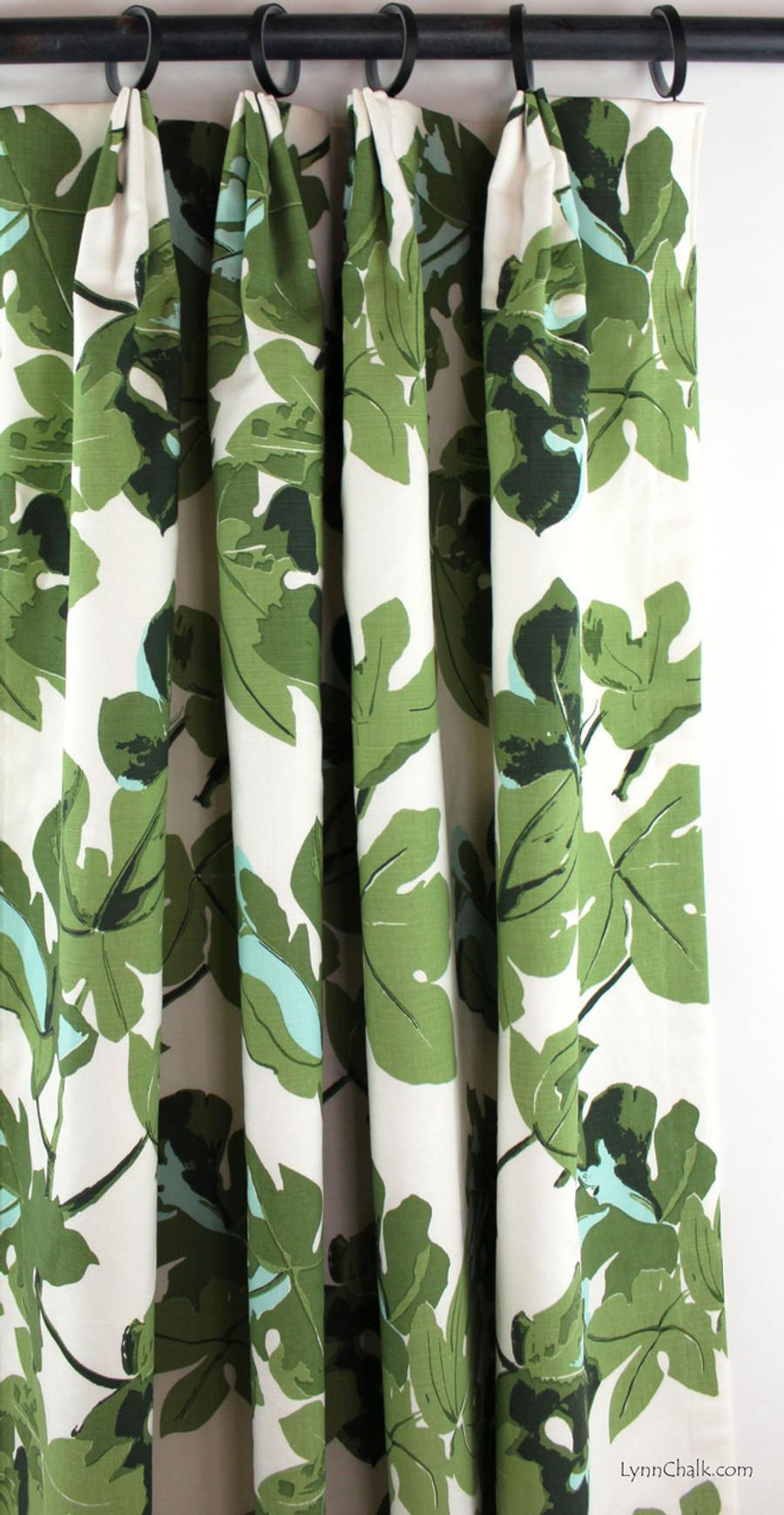 Peter Dunham Fig Leaf on White Custom Drapes