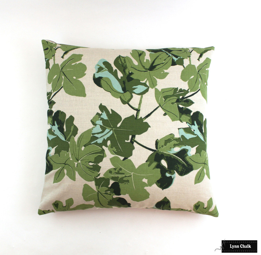 Fig Leaf on Natural Linen Knife Edge Pillows (24 X 24)
