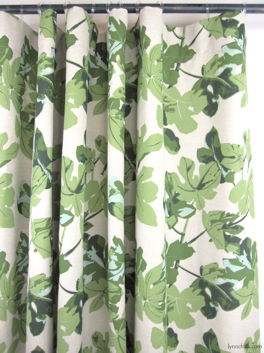 Custom Flat Panel Drapes in Peter Dunham Fig Leaf Original on Natural by Lynn Chalk