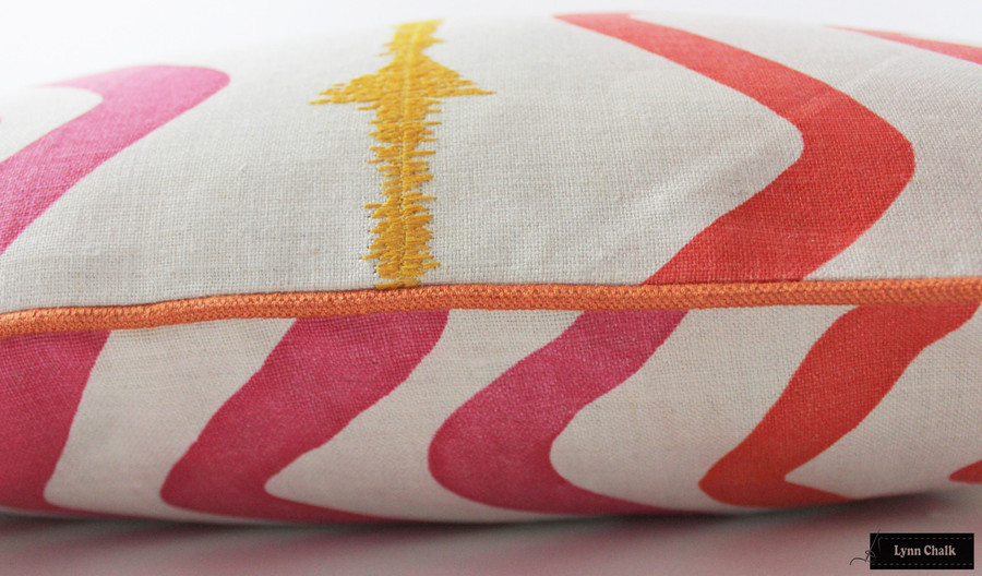 Christopher Farr Rick Rack Hot Pink with Samuel & Sons French Piping Lacquer Pillow