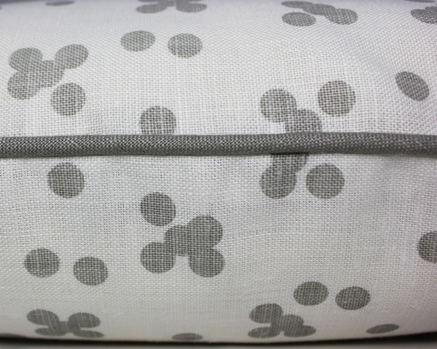 Custom Pillow by Lynn Chalk in Christopher Farr Pollen in Smoke with welting in Robert Allen Kilrush II in Nickel