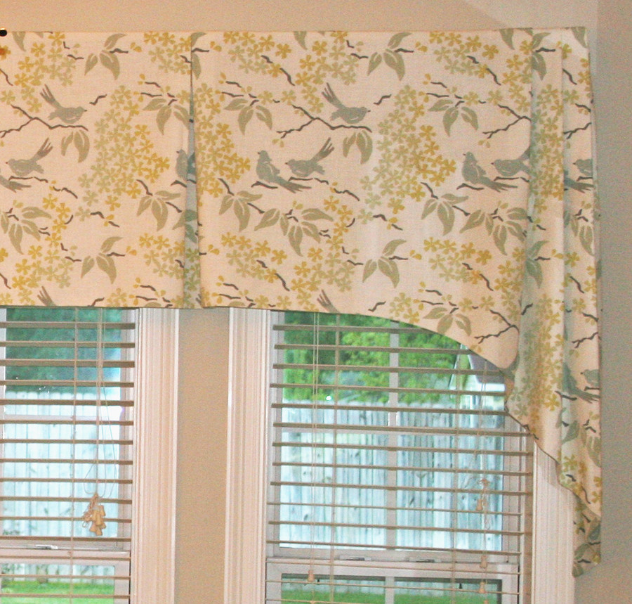 Custom Tapered Box Pleated Valance by Lynn Chalk in Galbraith & Paul Birds. (Photos by client)