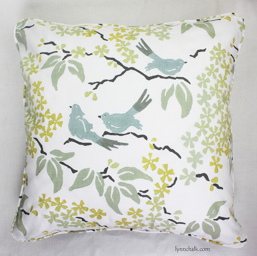 Custom Pillow with welting by Lynn Chalk in Galbraith & Paul in Birds.