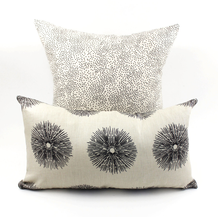 Pillow in Kelly Wearstler Confetti in Ebony/Ivory shown with Pillow in Kelly Wearstler Sea Urchin