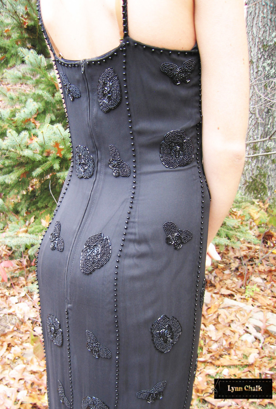 One-of-a-kind Hand Beaded Dress by Lynn Chalk with Flowers and Butterflies in all Black Beads on Silk Chiffon