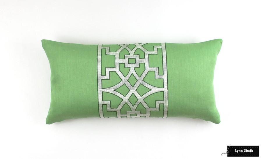 """Schumacher Mary McDonald Don't Fret in Lettuce 12"""" X 24"""" Lumbar Pillow (2 Pillow Minimum Order)"""