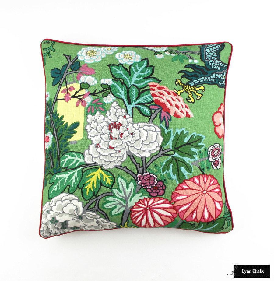 Schumacher Chiang Mai Dragon Pillow with Welting in Alabaster (Comes in  8 Colors) 2 Pillow Minimum Order