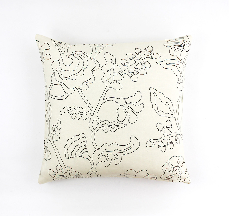 """ON SALE Quadrille Alan Campbell Potalla Outline Black on Tint 21"""" Pillow Cover (Both Sides) Only 1 Remaining"""