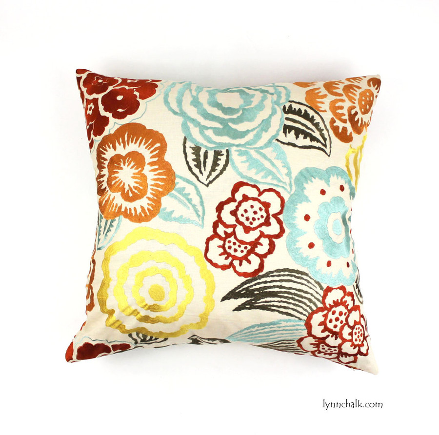 Groundworks Lee Jofa Nolita Embroidered Custom Pillows in Aqua/Rust