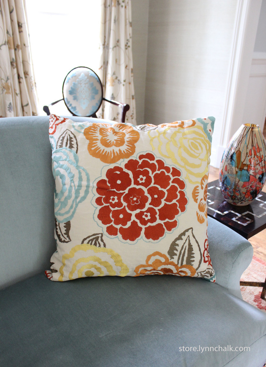 Custom Pillows by Lynn Chalk in Nolita in Aqua/Rust