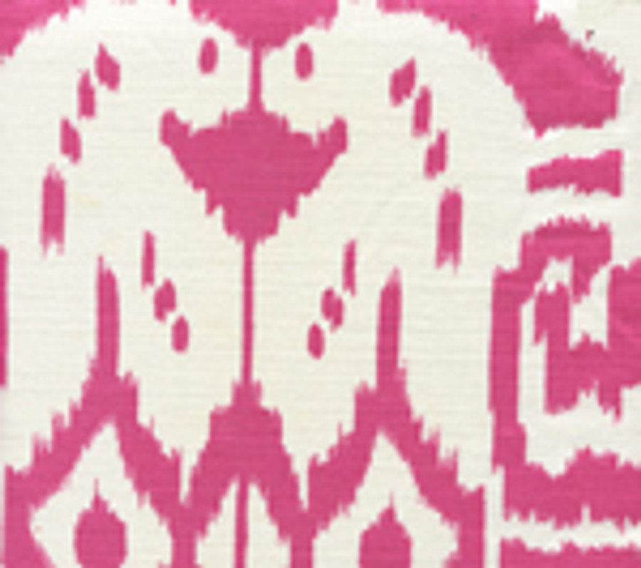 """Quadrille Girls Room with Roman Shades in Island Ikat in Magenta with Samuel and Sons Steel 977-44932  1.5"""" Grosgrain Ribbon"""