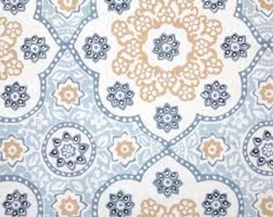Seville Medallion in China Blue on White Linen