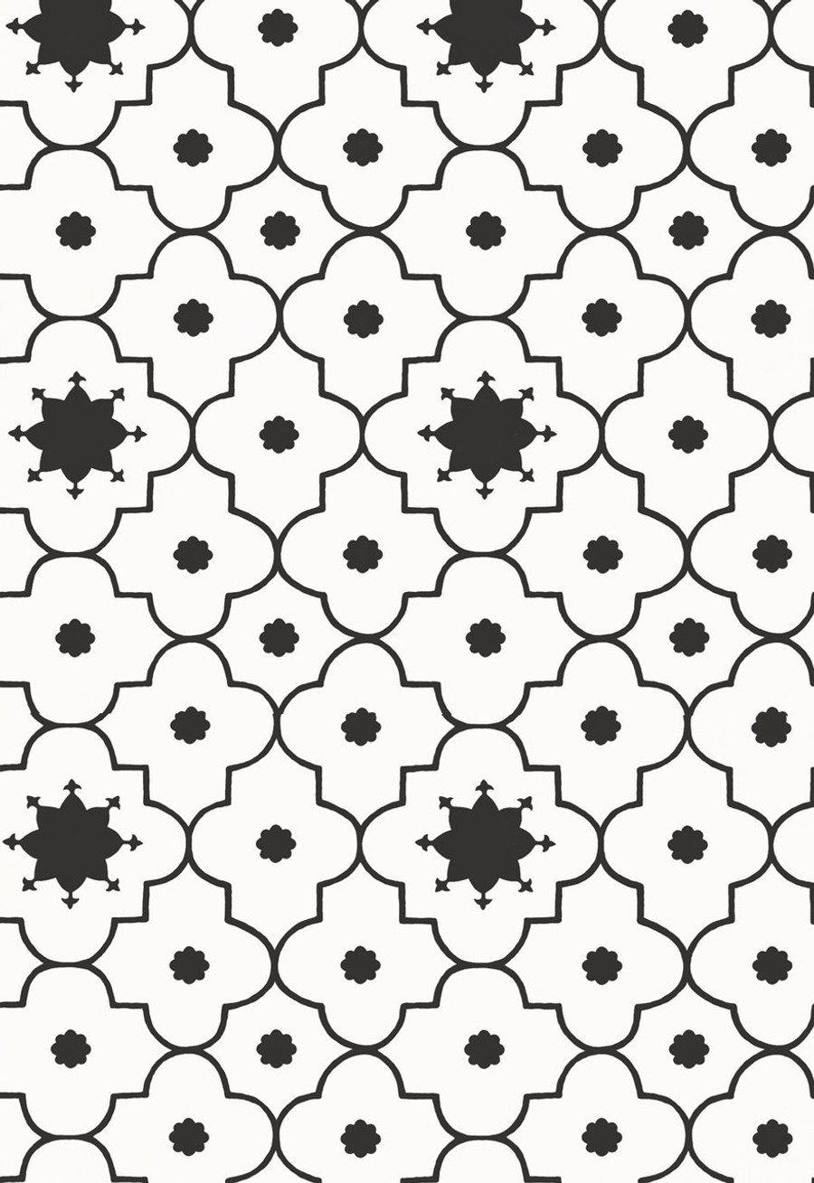 Martyn Lawrence Bullard for Schumacher Wallpaper Taj Trellis in Noir