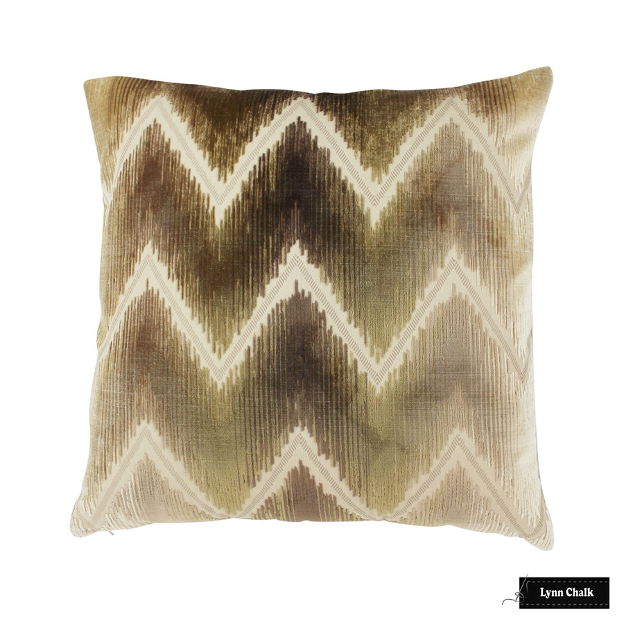 Schumacher Shock Wave Sand & Sable Pillow (22 X 22)