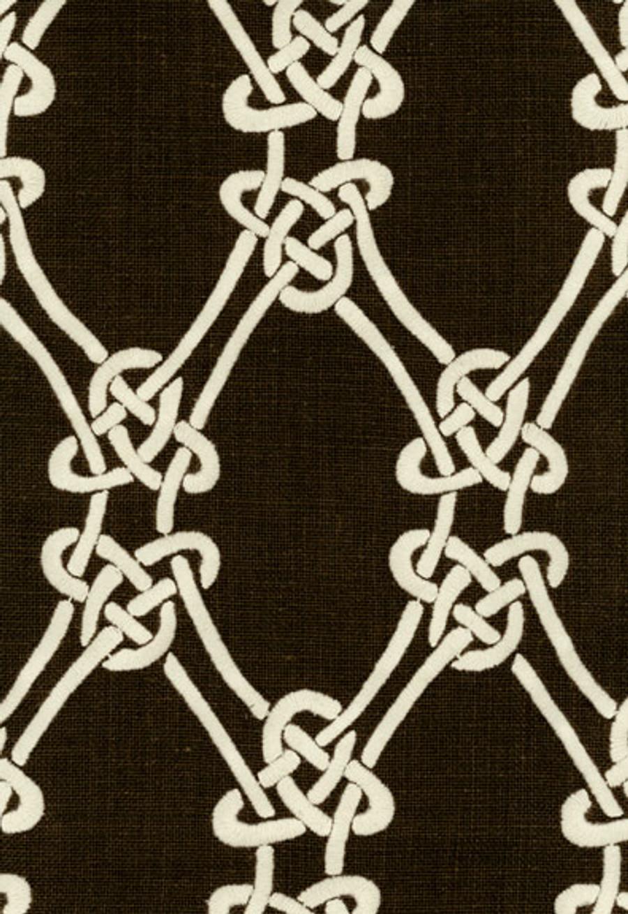 2643922 Schumacher Gordian Weave Natural on Walnut