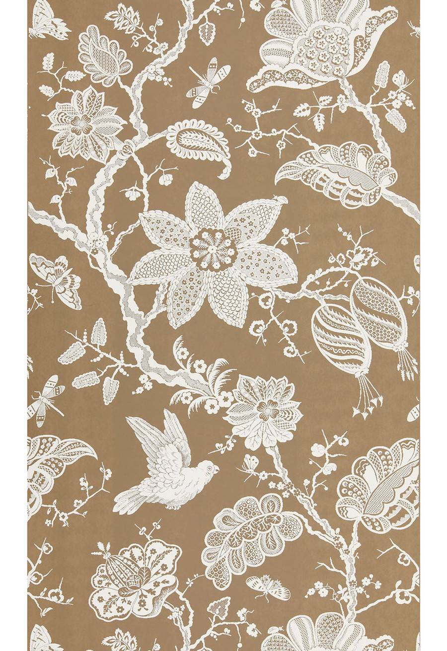 "Schumacher Bali Vine Wallpaper Mocha  5005002  - Quantity of 1 is one full panel  87.75"" X 54 "" wide (a Total of 2.44 yards)"