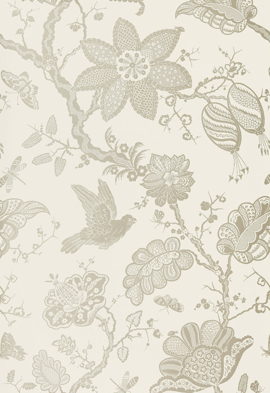 "Schumacher Bali Vine Wallpaper Platinum 5005000 - Quantity of 1 is one full panel  87.75"" X 54 "" wide (a Total of 2.44 yards)"