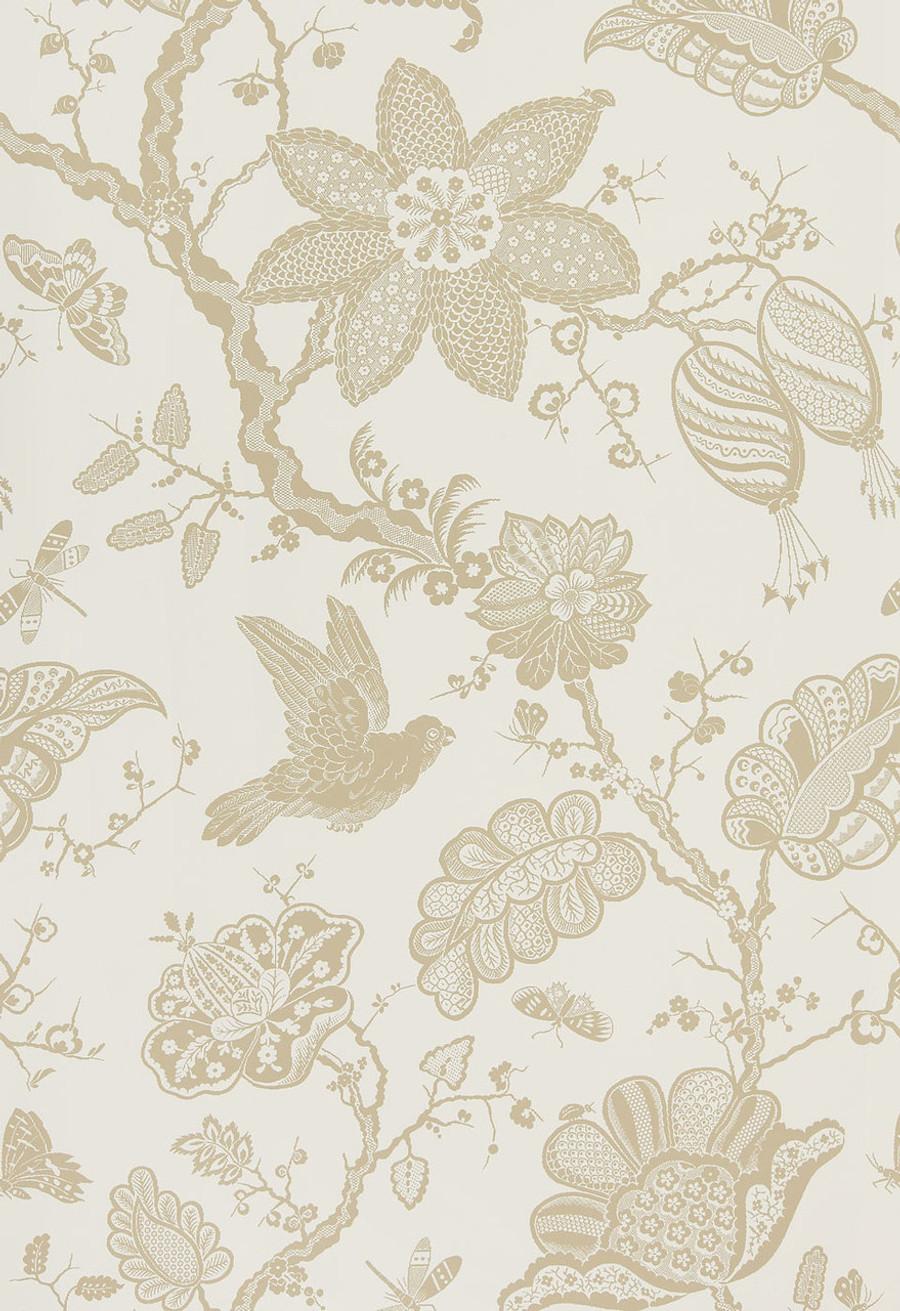 "Schumacher Bali Vine Wallpaper Sandstone  5005001 (Sold as one full panel  87.75"" X 54 "" wide (Total of 2.44 yard panel)"