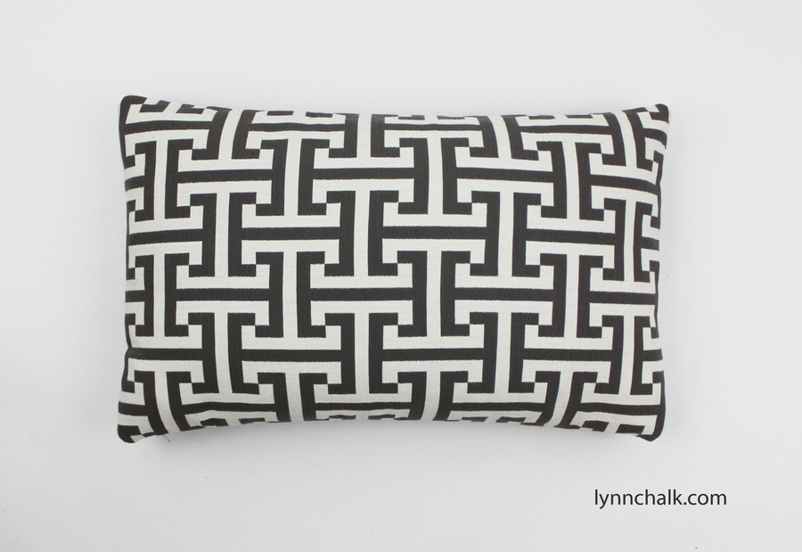 "Custom Pillow in Holly Hunt Insigna Cream/Iron Gray 124/03 (12"" X 20"")"