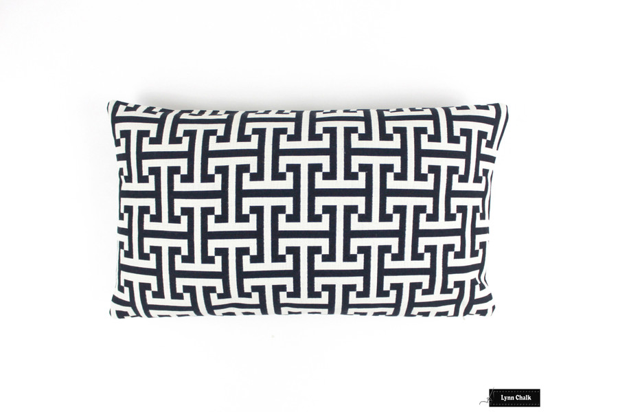 Holly Hunt Windowseat Cushion in Insignia Cream/Iron Indoor/Outdoor Fabric
