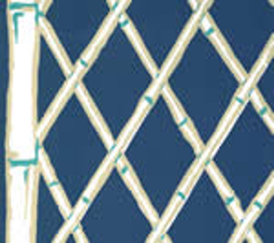 Quadrille Lyford Trellis Navy on White 6020W-18