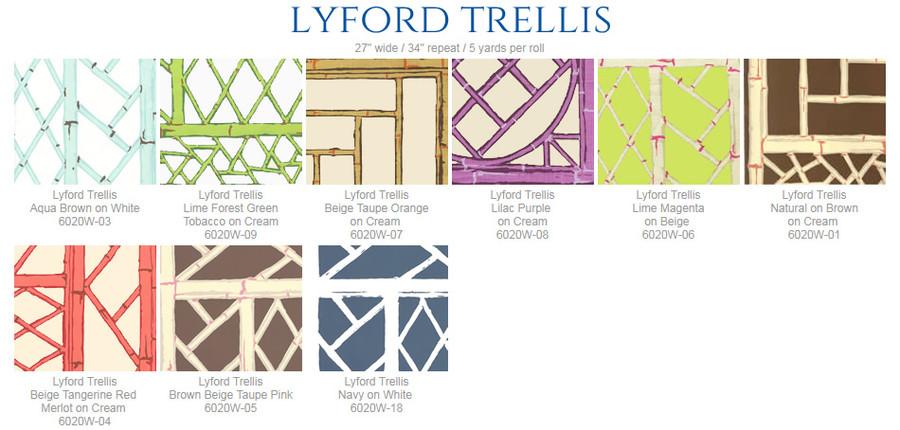 Quadrille China Seas Lyford Trellis Wallpaper  6020W 03 Aqua Brown on White