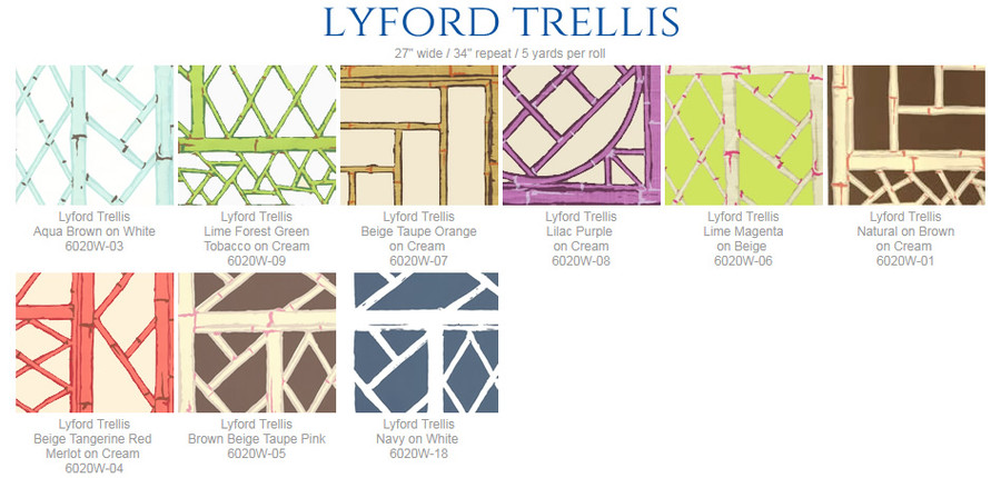 Quadrille China Seas Lyford Trellis Wallpaper  6020W 09 Lime Forest Green Tobacco on Cream