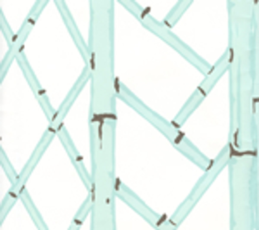 LYFORD TRELLIS BACKGROUND 6020W 03 Aqua Brown on White